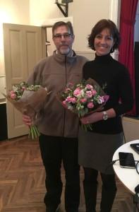 Årsmötesordförande Göran Weiler och Torestorps Fibers styrelseordförande Gunilla Esbjörnsson