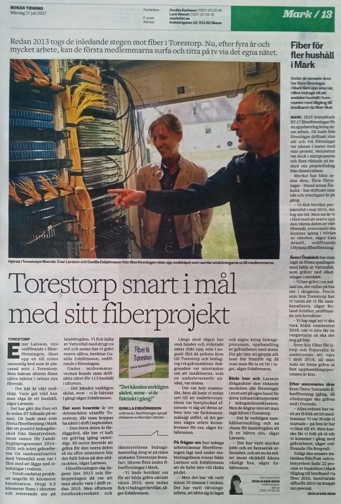 Torestorps Fiber i Borås Tidning 20170717